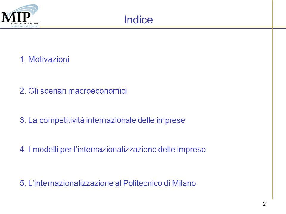 2 Indice 1. Motivazioni 2. Gli scenari macroeconomici 3. La competitività internazionale delle imprese 4. I modelli per linternazionalizzazione delle