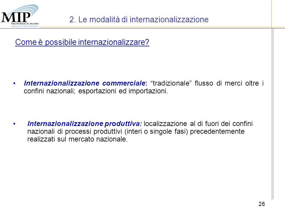 26 2. Le modalità di internazionalizzazione Internazionalizzazione commerciale: tradizionale flusso di merci oltre i confini nazionali; esportazioni e