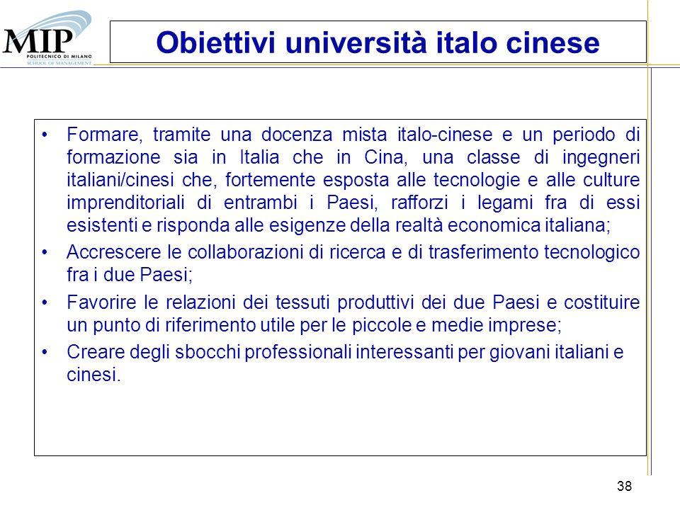 38 Obiettivi università italo cinese Formare, tramite una docenza mista italo-cinese e un periodo di formazione sia in Italia che in Cina, una classe
