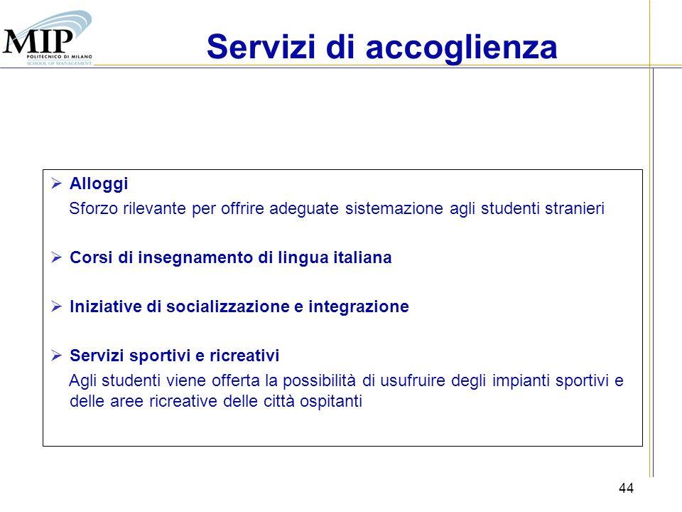 44 Alloggi Sforzo rilevante per offrire adeguate sistemazione agli studenti stranieri Corsi di insegnamento di lingua italiana Iniziative di socializz