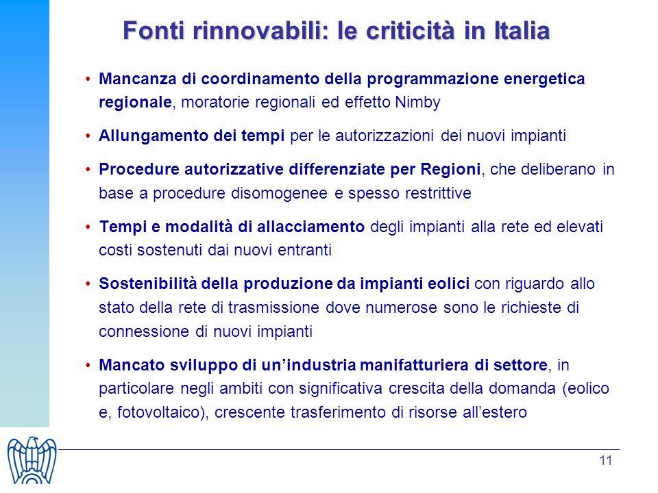 11 Fonti rinnovabili: le criticità in Italia Mancanza di coordinamento della programmazione energetica regionale, moratorie regionali ed effetto Nimby