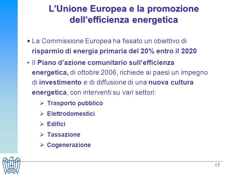 17 La Commissione Europea ha fissato un obiettivo di risparmio di energia primaria del 20% entro il 2020 Il Piano dazione comunitario sullefficienza e
