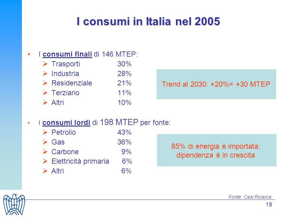 19 I consumi in Italia nel 2005 I consumi finali di 146 MTEP: Trasporti 30% Industria 28% Residenziale 21% Terziario 11% Altri 10% I consumi lordi di