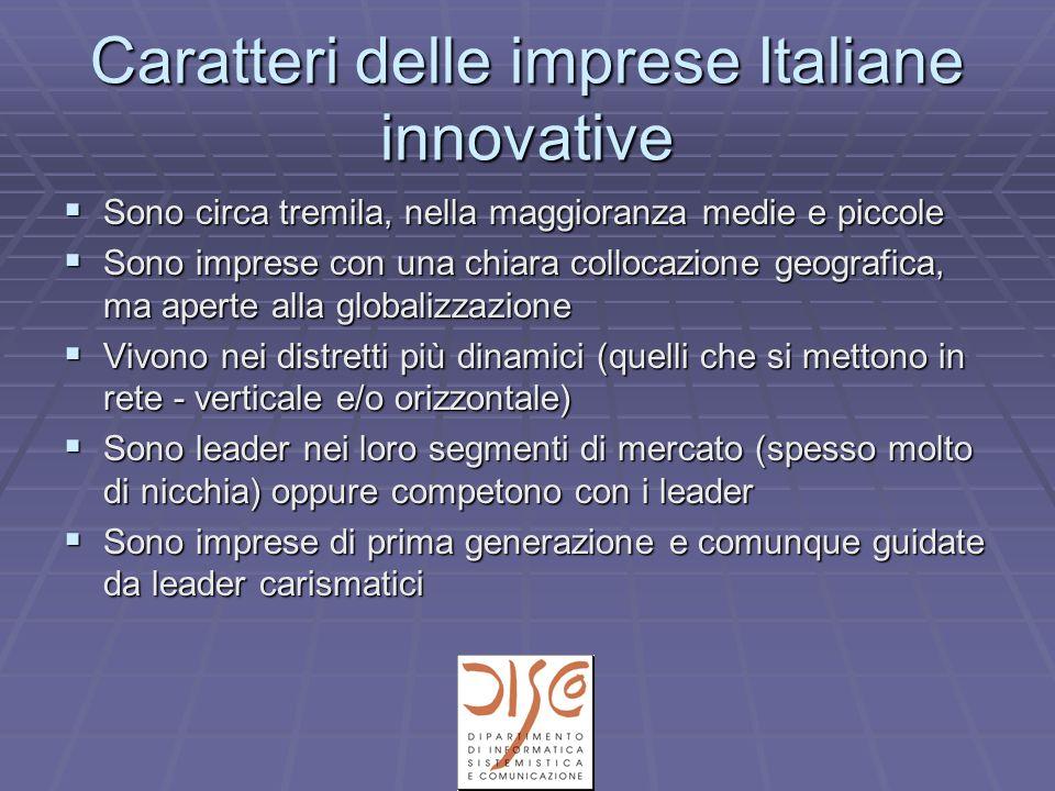 Caratteri delle imprese Italiane innovative Sono circa tremila, nella maggioranza medie e piccole Sono circa tremila, nella maggioranza medie e piccol