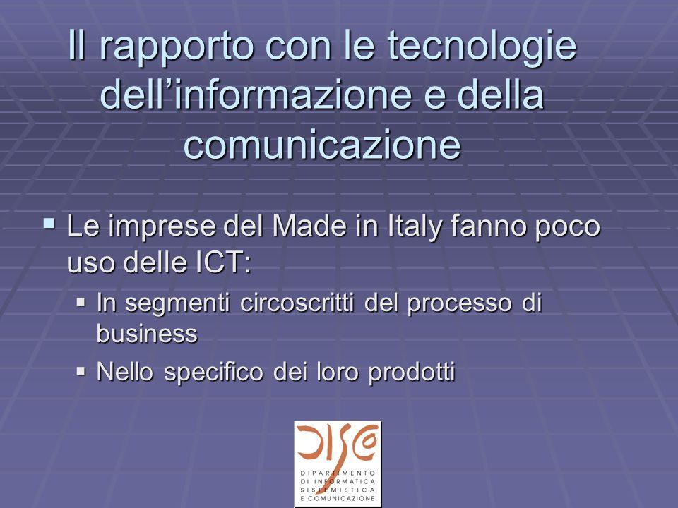 Il rapporto con le tecnologie dellinformazione e della comunicazione Le imprese del Made in Italy fanno poco uso delle ICT: Le imprese del Made in Italy fanno poco uso delle ICT: In segmenti circoscritti del processo di business In segmenti circoscritti del processo di business Nello specifico dei loro prodotti Nello specifico dei loro prodotti