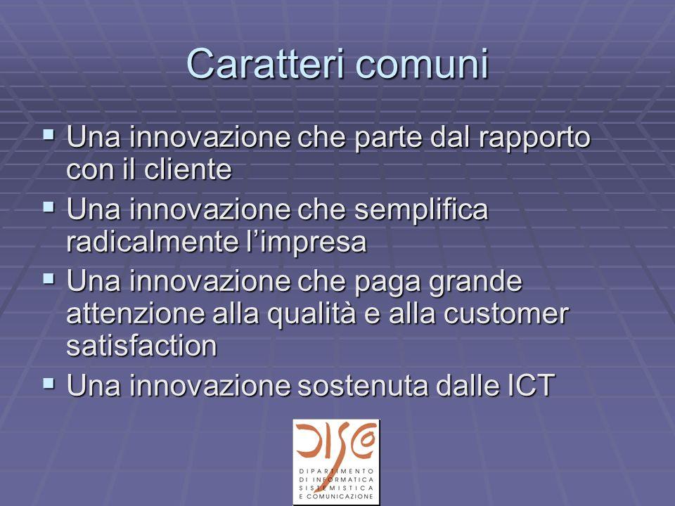 Caratteri comuni Una innovazione che parte dal rapporto con il cliente Una innovazione che parte dal rapporto con il cliente Una innovazione che semplifica radicalmente limpresa Una innovazione che semplifica radicalmente limpresa Una innovazione che paga grande attenzione alla qualità e alla customer satisfaction Una innovazione che paga grande attenzione alla qualità e alla customer satisfaction Una innovazione sostenuta dalle ICT Una innovazione sostenuta dalle ICT