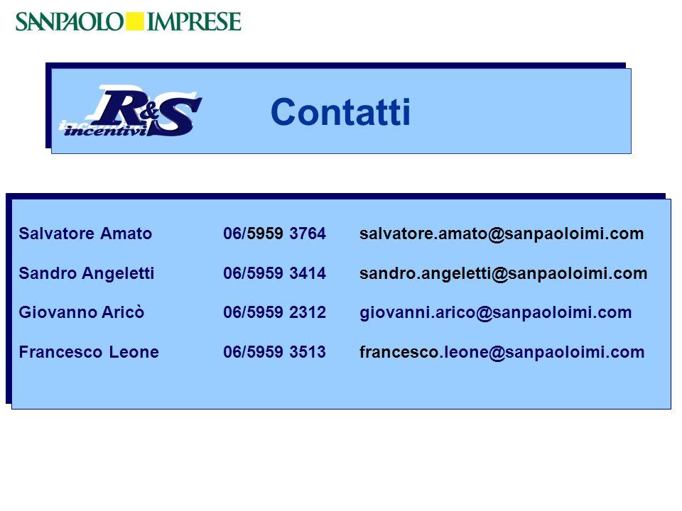Salvatore Amato06/5959 3764salvatore.amato@sanpaoloimi.com Sandro Angeletti06/5959 3414sandro.angeletti@sanpaoloimi.com Giovanno Aricò06/5959 2312giov