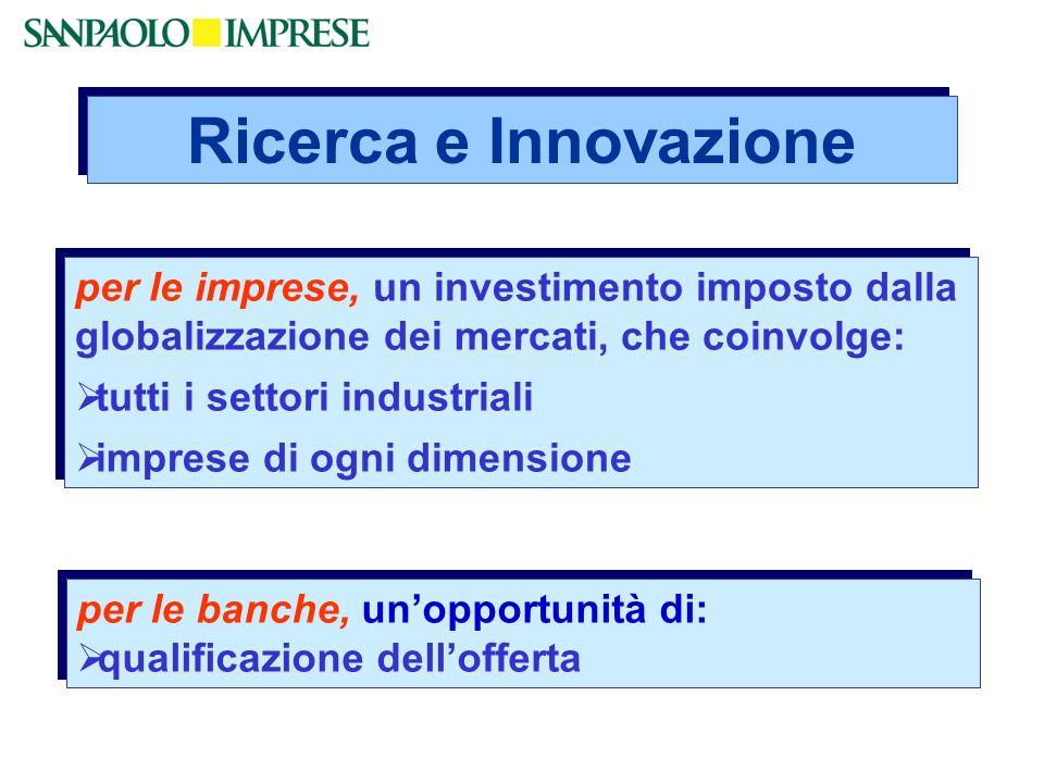 Ricerca e Innovazione per le imprese, un investimento imposto dalla globalizzazione dei mercati, che coinvolge: tutti i settori industriali imprese di