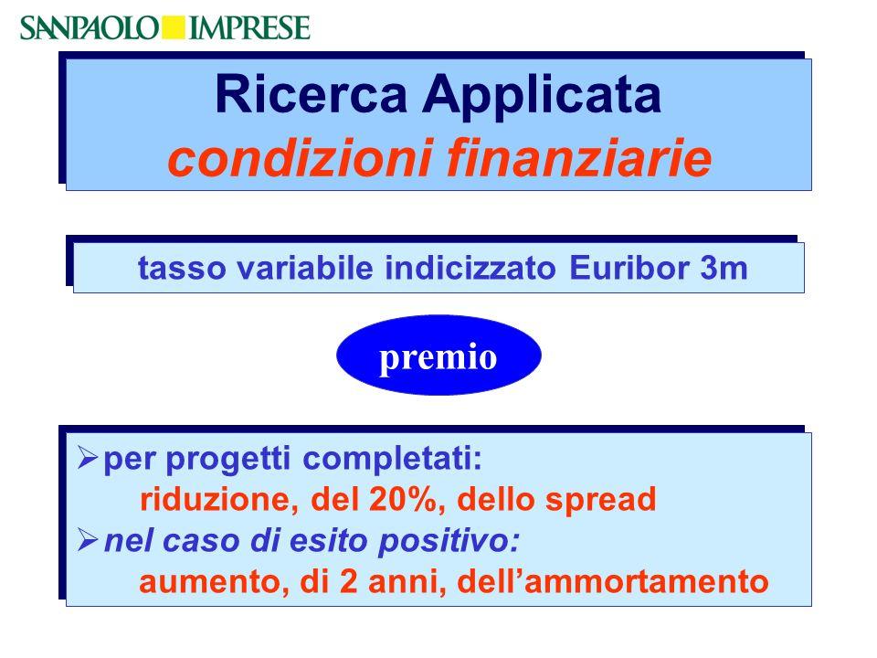 Ricerca Applicata condizioni finanziarie per progetti completati: riduzione, del 20%, dello spread nel caso di esito positivo: aumento, di 2 anni, del