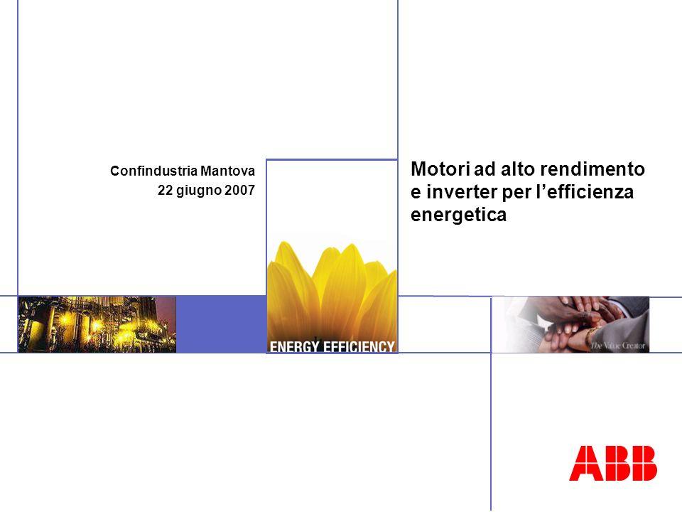 Motori ad alto rendimento e inverter per lefficienza energetica Confindustria Mantova 22 giugno 2007