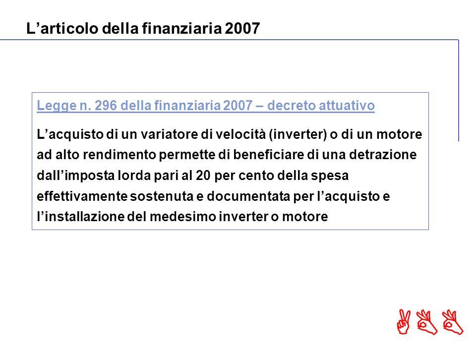 ABB Larticolo della finanziaria 2007 Legge n.