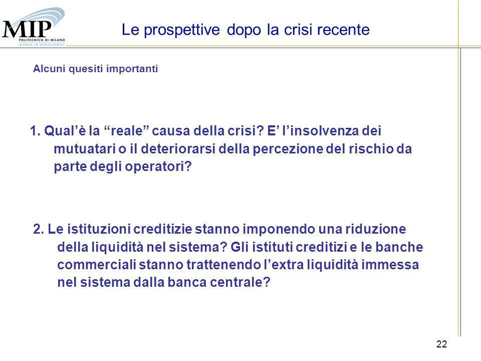 22 Le prospettive dopo la crisi recente Alcuni quesiti importanti 1. Qualè la reale causa della crisi? E linsolvenza dei mutuatari o il deteriorarsi d