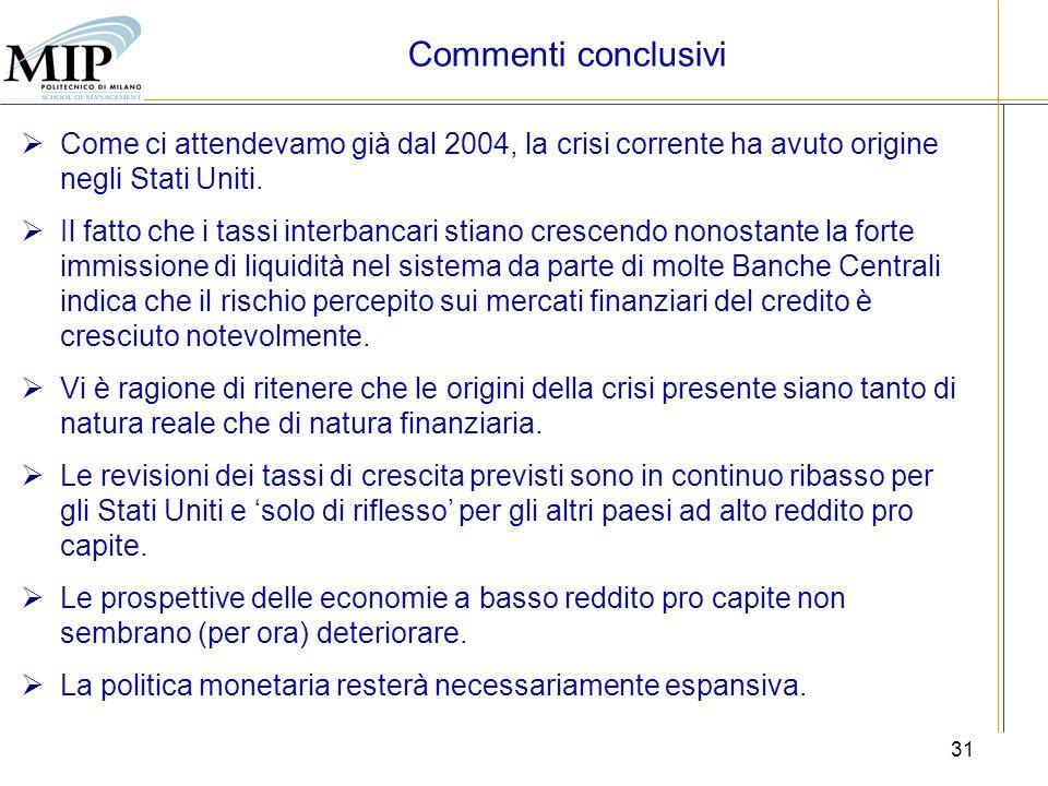 31 Commenti conclusivi Come ci attendevamo già dal 2004, la crisi corrente ha avuto origine negli Stati Uniti. Il fatto che i tassi interbancari stian
