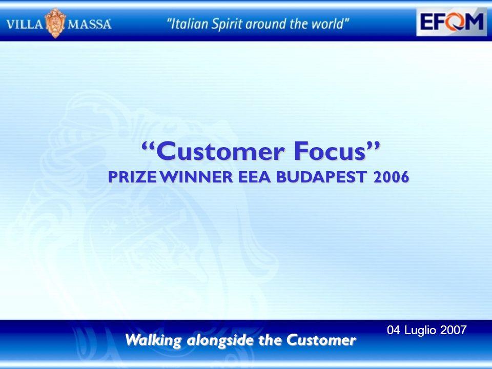 Customer Focus Customer Focus PRIZE WINNER EEA BUDAPEST 2006 Walking alongside the Customer 04 Luglio 2007