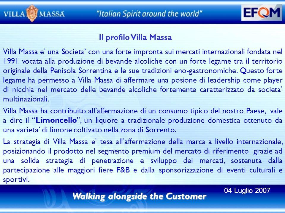 Il profilo Villa Massa Walking alongside the Customer Villa Massa e una Societa con una forte impronta sui mercati internazionali fondata nel 1991 vocata alla produzione di bevande alcoliche con un forte legame tra il territorio originale della Penisola Sorrentina e le sue tradizioni eno-gastronomiche.