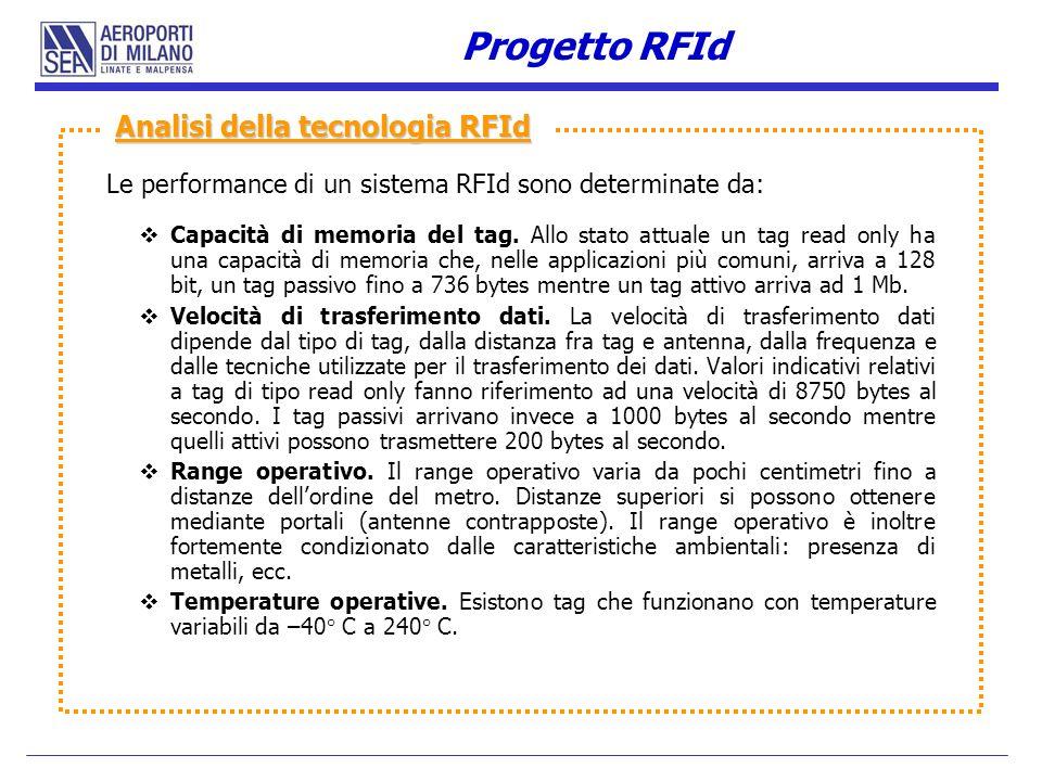 Le performance di un sistema RFId sono determinate da: Capacità di memoria del tag. Allo stato attuale un tag read only ha una capacità di memoria che