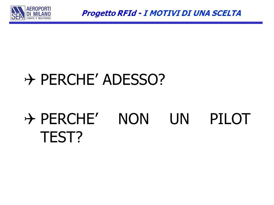 PERCHE ADESSO? PERCHE NON UN PILOT TEST? Progetto RFId - I MOTIVI DI UNA SCELTA