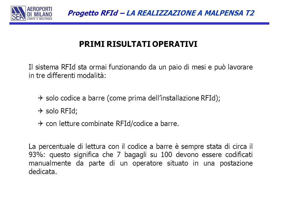 Il sistema RFId sta ormai funzionando da un paio di mesi e può lavorare in tre differenti modalità: solo codice a barre (come prima dellinstallazione