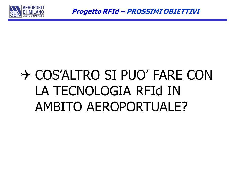 COSALTRO SI PUO FARE CON LA TECNOLOGIA RFId IN AMBITO AEROPORTUALE? Progetto RFId – PROSSIMI OBIETTIVI