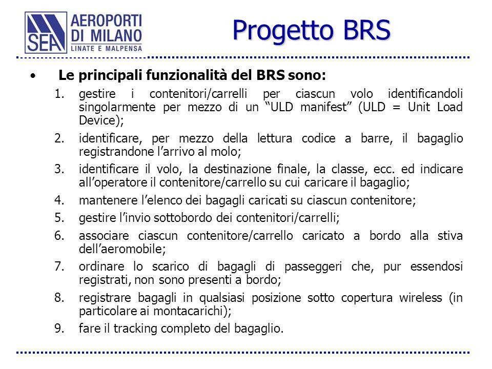 Progetto BRS Le principali funzionalità del BRS sono: 1.gestire i contenitori/carrelli per ciascun volo identificandoli singolarmente per mezzo di un