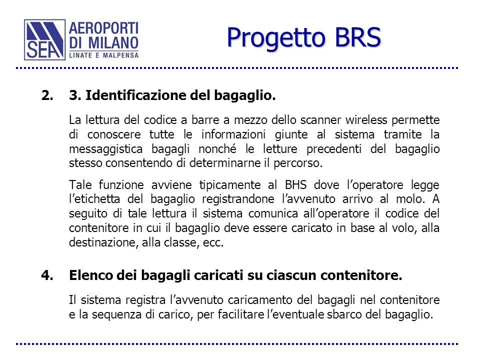 Progetto BRS 2.3. Identificazione del bagaglio. La lettura del codice a barre a mezzo dello scanner wireless permette di conoscere tutte le informazio