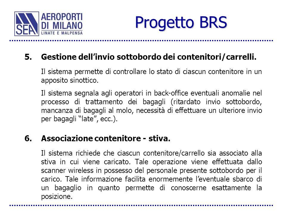 Progetto BRS 5.Gestione dellinvio sottobordo dei contenitori/carrelli. Il sistema permette di controllare lo stato di ciascun contenitore in un apposi