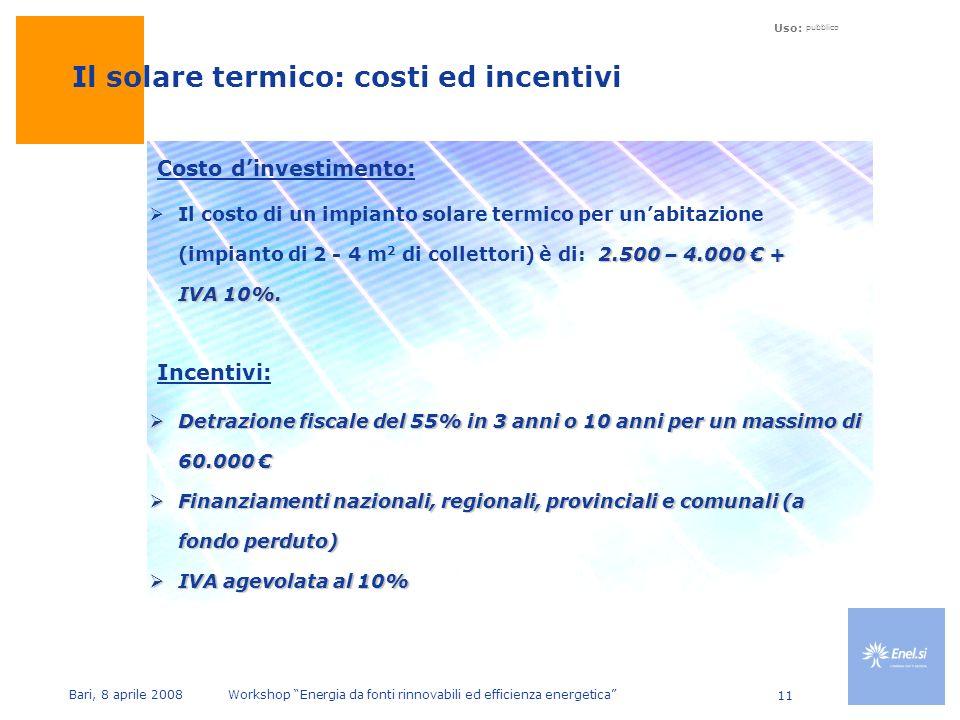 Uso: pubblico Bari, 8 aprile 2008 Workshop Energia da fonti rinnovabili ed efficienza energetica 11 2.500 – 4.000 + IVA 10%.