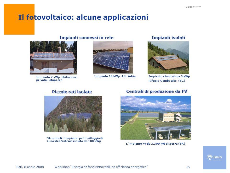 Uso: pubblico Bari, 8 aprile 2008 Workshop Energia da fonti rinnovabili ed efficienza energetica 15 Impianto 7 kWp abitazione privata Catanzaro Impianto 18 kWp ASL Adria Impianti connessi in rete Il fotovoltaico: alcune applicazioni Impianto stand alone 3 kWp Rifugio Gombo alto (BG) Impianti isolati Centrali di produzione da FV Limpianto FV da 3.300 kW di Serre (SA) Piccole reti isolate Stromboli: limpianto per il villaggio di Ginostra Sistema isolato da 100 kWp