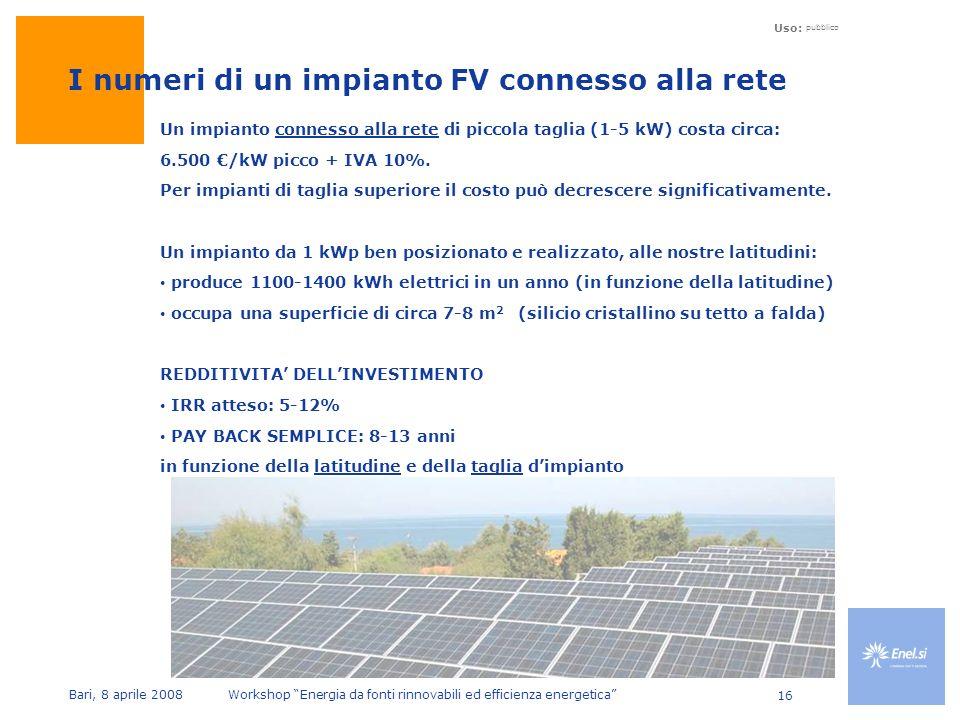 Uso: pubblico Bari, 8 aprile 2008 Workshop Energia da fonti rinnovabili ed efficienza energetica 16 I numeri di un impianto FV connesso alla rete Un impianto connesso alla rete di piccola taglia (1-5 kW) costa circa: 6.500 /kW picco + IVA 10%.