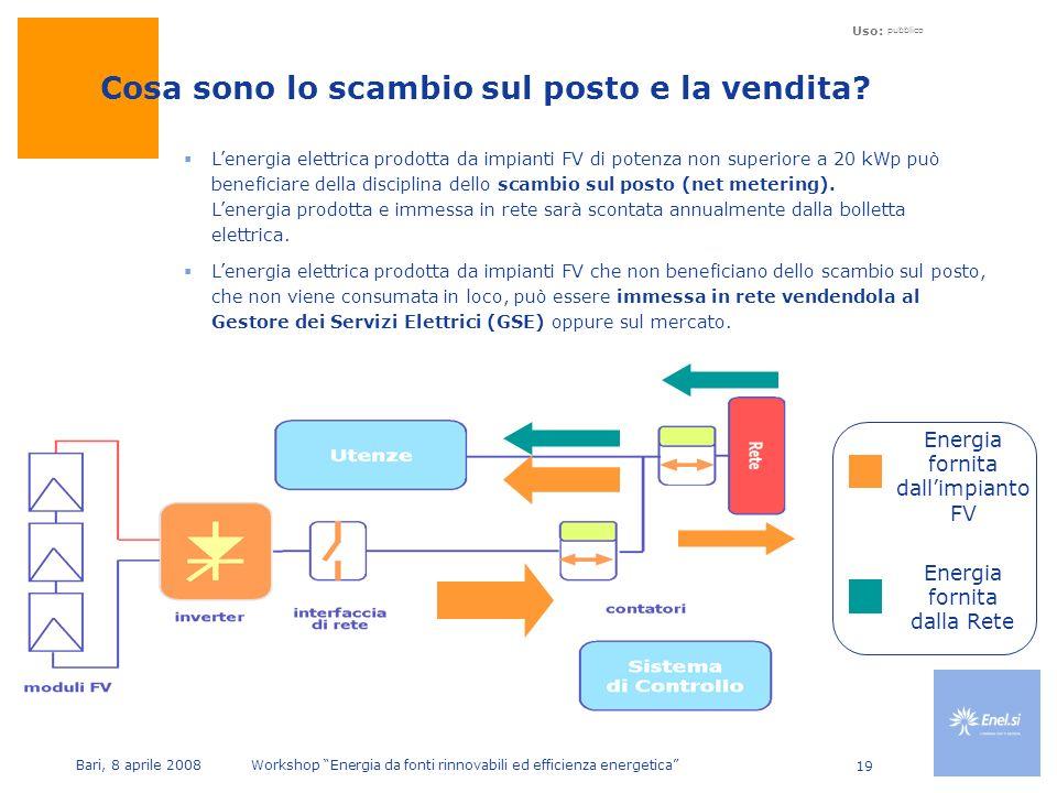 Uso: pubblico Bari, 8 aprile 2008 Workshop Energia da fonti rinnovabili ed efficienza energetica 19 Lenergia elettrica prodotta da impianti FV di potenza non superiore a 20 kWp può beneficiare della disciplina dello scambio sul posto (net metering).