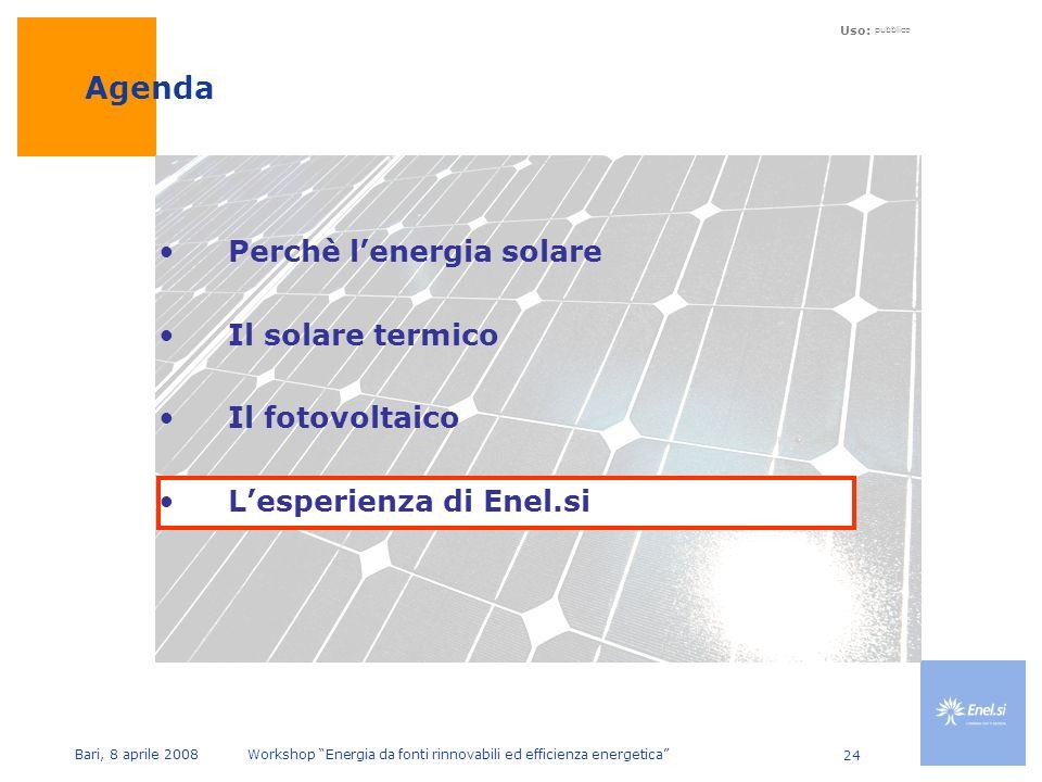 Uso: pubblico Bari, 8 aprile 2008 Workshop Energia da fonti rinnovabili ed efficienza energetica 24 Perchè lenergia solare Il solare termico Il fotovoltaico Lesperienza di Enel.si Agenda