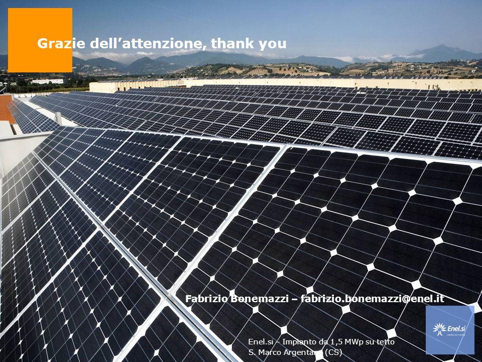 Uso: pubblico Bari, 8 aprile 2008 Workshop Energia da fonti rinnovabili ed efficienza energetica 28 Grazie dellattenzione, thank you Fabrizio Bonemazzi – fabrizio.bonemazzi@enel.it Enel.si – Impianto da 1,5 MWp su tetto S.