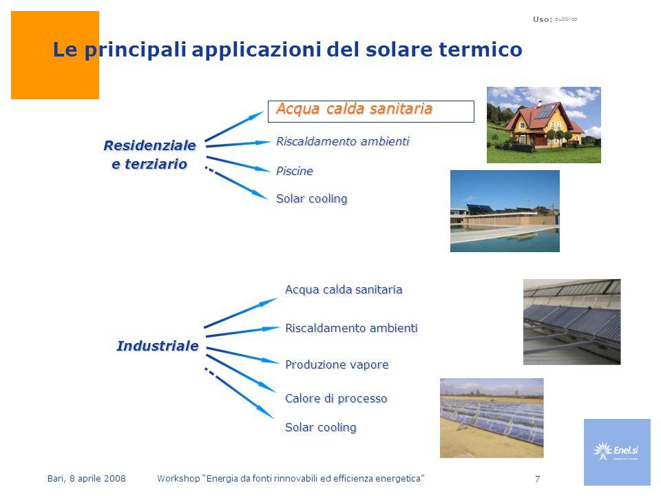 Uso: pubblico Bari, 8 aprile 2008 Workshop Energia da fonti rinnovabili ed efficienza energetica 7 Le principali applicazioni del solare termico Residenziale e terziario Industriale Acqua calda sanitaria Riscaldamento ambienti Piscine Solar cooling Acqua calda sanitaria Riscaldamento ambienti Produzione vapore Solar cooling Calore di processo
