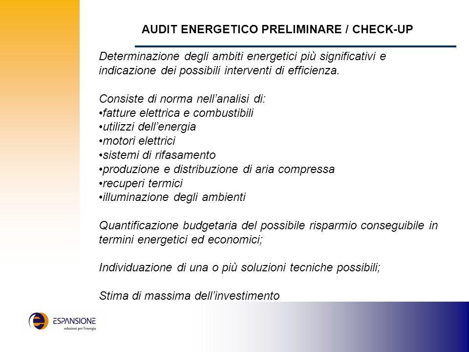 AUDIT ENERGETICO PRELIMINARE / CHECK-UP Determinazione degli ambiti energetici più significativi e indicazione dei possibili interventi di efficienza.