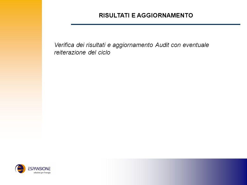 RISULTATI E AGGIORNAMENTO Verifica dei risultati e aggiornamento Audit con eventuale reiterazione del ciclo