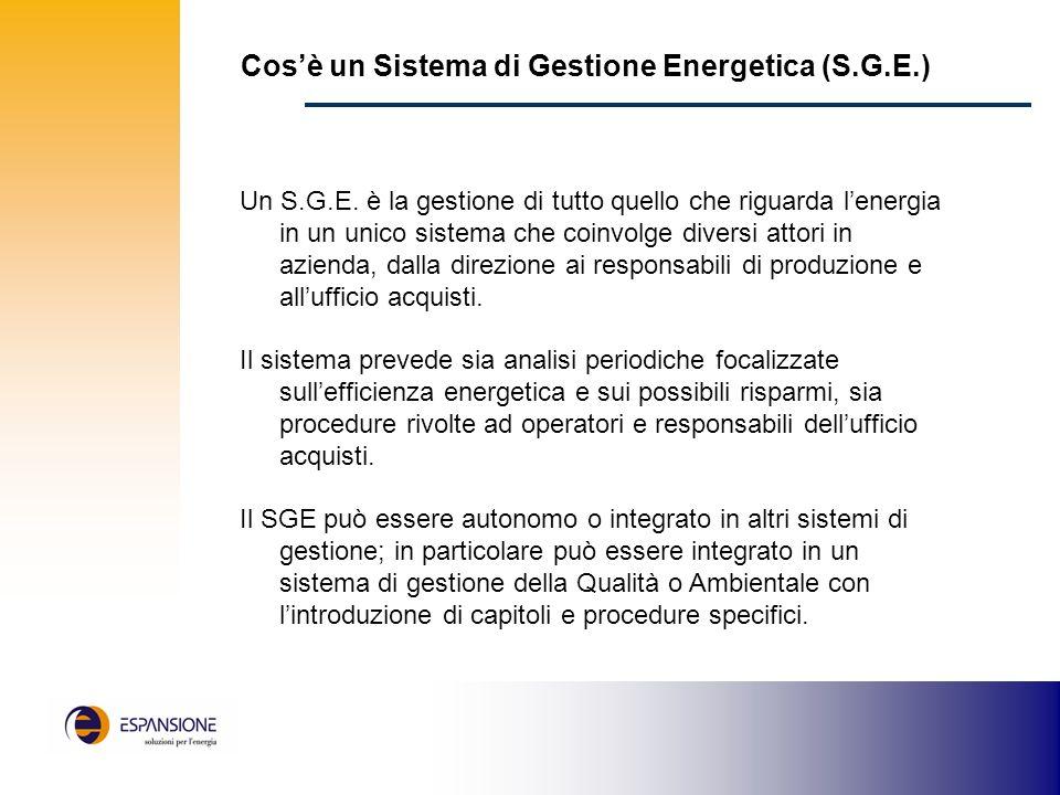 Cosè un Sistema di Gestione Energetica (S.G.E.) Un S.G.E.