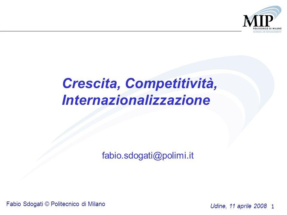 1 Crescita, Competitività, Internazionalizzazione fabio.sdogati@polimi.it Udine, 11 aprile 2008 Fabio Sdogati © Politecnico di Milano