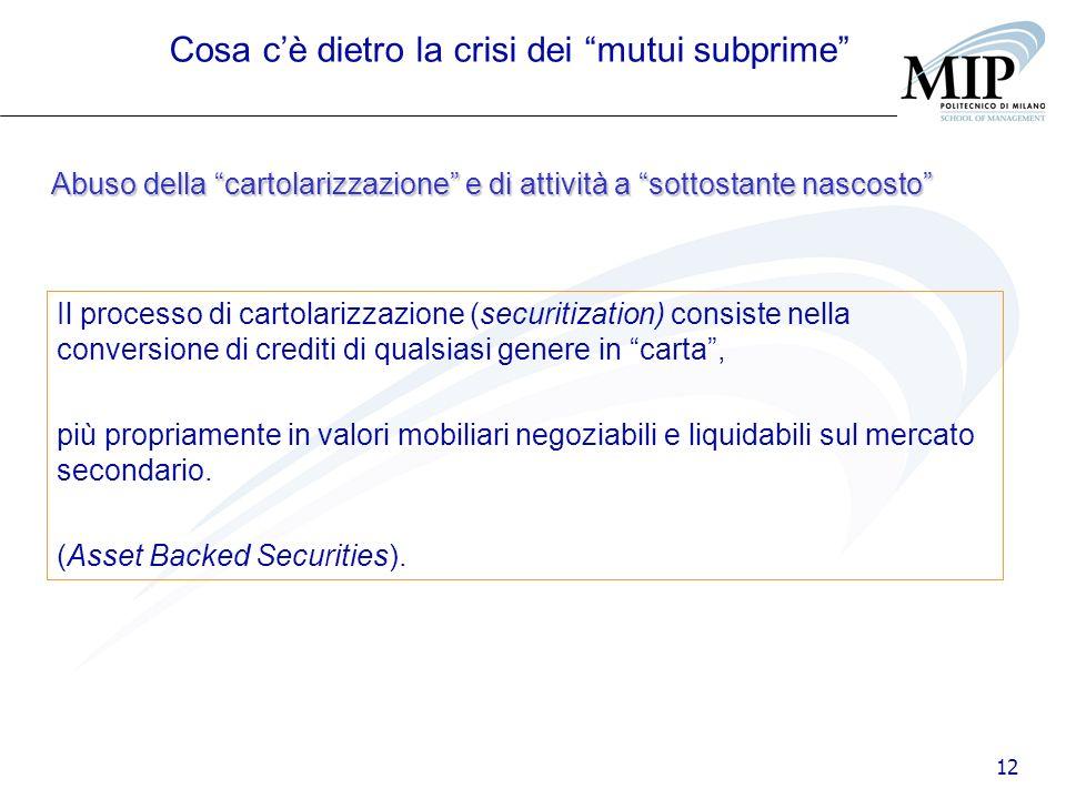 12 Abuso della cartolarizzazione e di attività a sottostante nascosto Cosa cè dietro la crisi dei mutui subprime Il processo di cartolarizzazione (sec