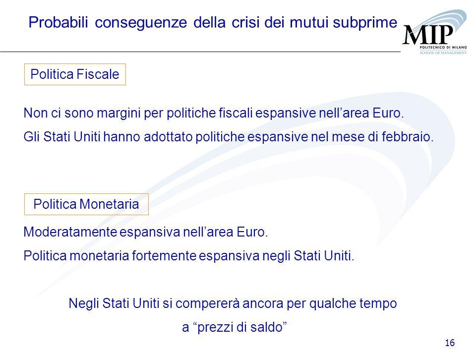 16 Probabili conseguenze della crisi dei mutui subprime Non ci sono margini per politiche fiscali espansive nellarea Euro. Gli Stati Uniti hanno adott