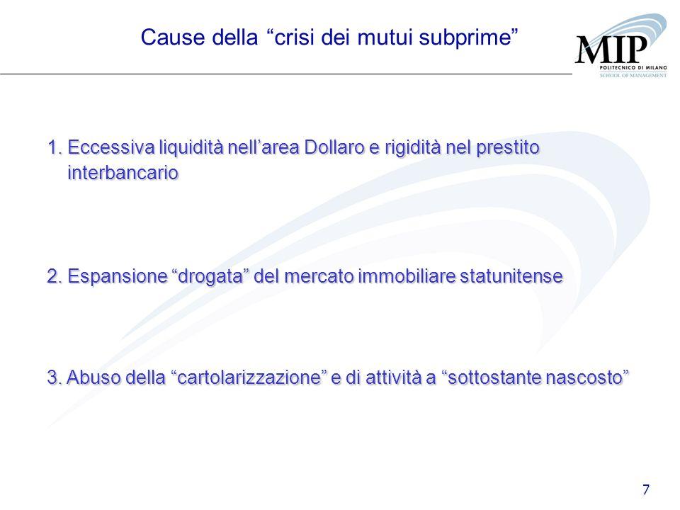 7 Cause della crisi dei mutui subprime 1. Eccessiva liquidità nellarea Dollaro e rigidità nel prestito interbancario 2. Espansione drogata del mercato