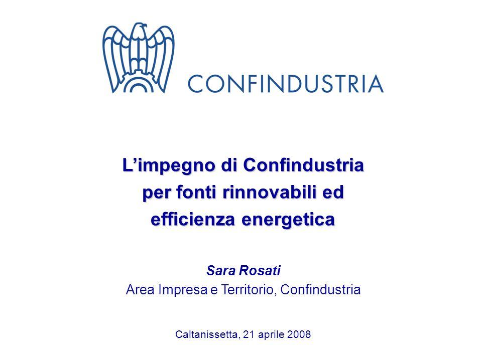 1 Limpegno di Confindustria per fonti rinnovabili ed efficienza energetica Sara Rosati Area Impresa e Territorio, Confindustria Caltanissetta, 21 apri