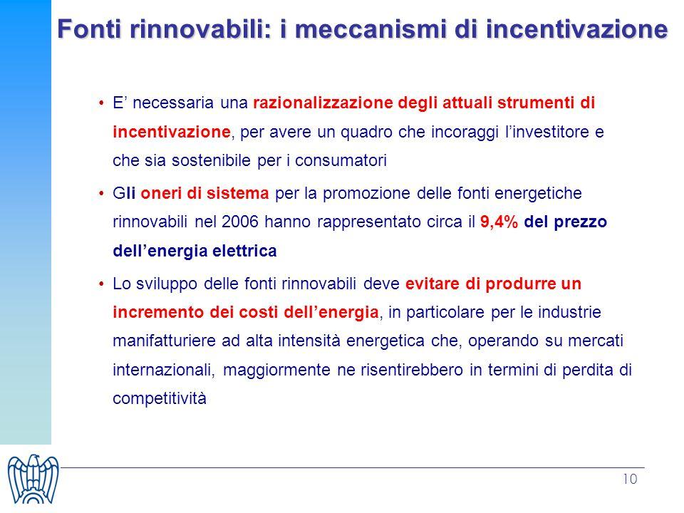 10 Fonti rinnovabili: i meccanismi di incentivazione E necessaria una razionalizzazione degli attuali strumenti di incentivazione, per avere un quadro