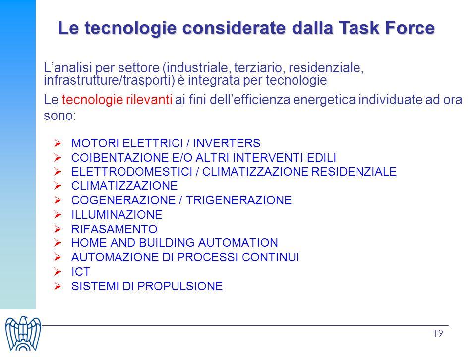 19 Lanalisi per settore (industriale, terziario, residenziale, infrastrutture/trasporti) è integrata per tecnologie Le tecnologie rilevanti ai fini de