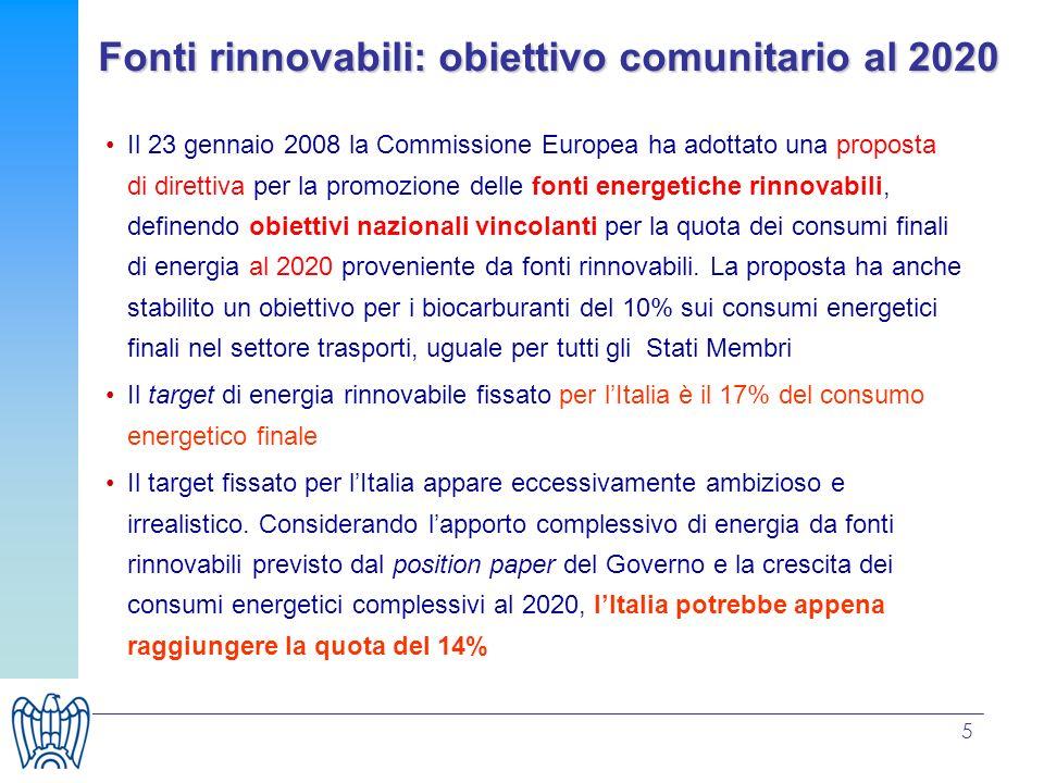 5 Fonti rinnovabili: obiettivo comunitario al 2020 Il 23 gennaio 2008 la Commissione Europea ha adottato una proposta di direttiva per la promozione d
