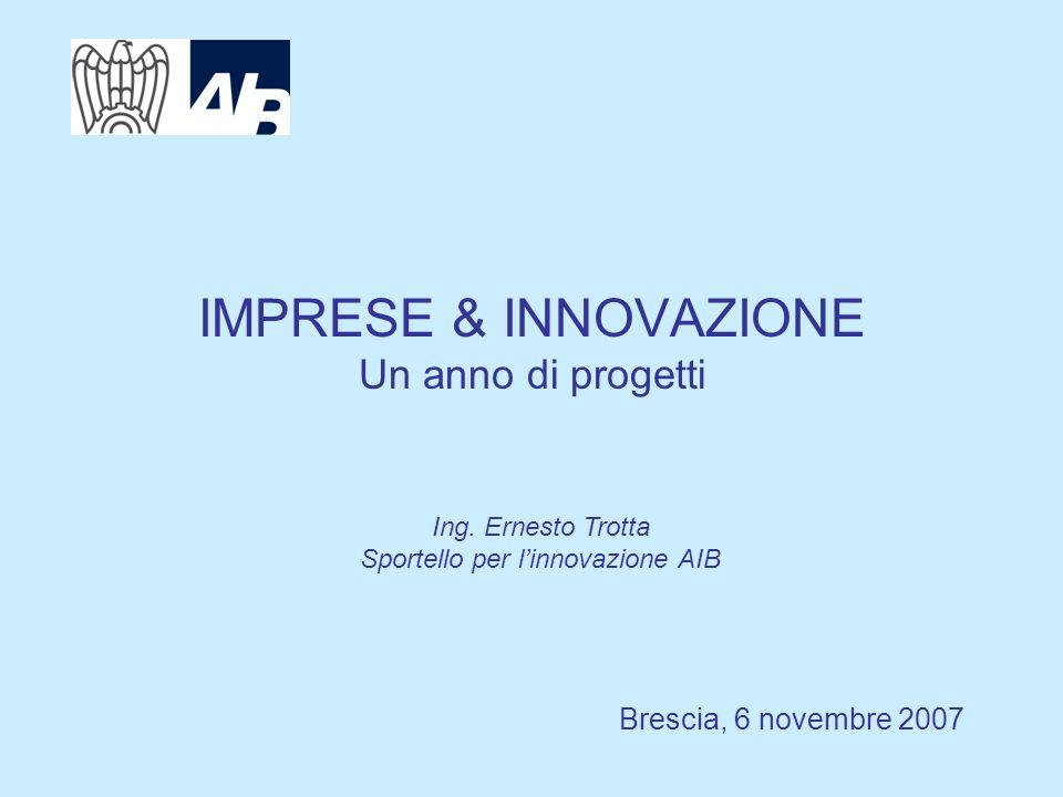 IMPRESE & INNOVAZIONE Un anno di progetti Brescia, 6 novembre 2007 Ing.