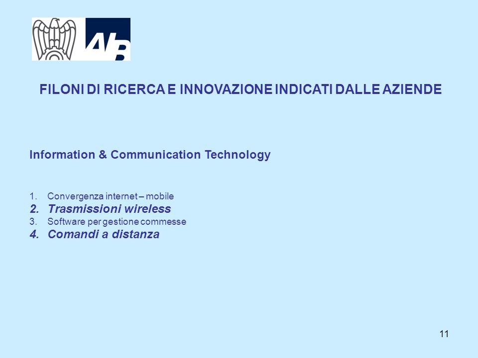 11 Information & Communication Technology 1.Convergenza internet – mobile 2.Trasmissioni wireless 3.Software per gestione commesse 4.Comandi a distanz