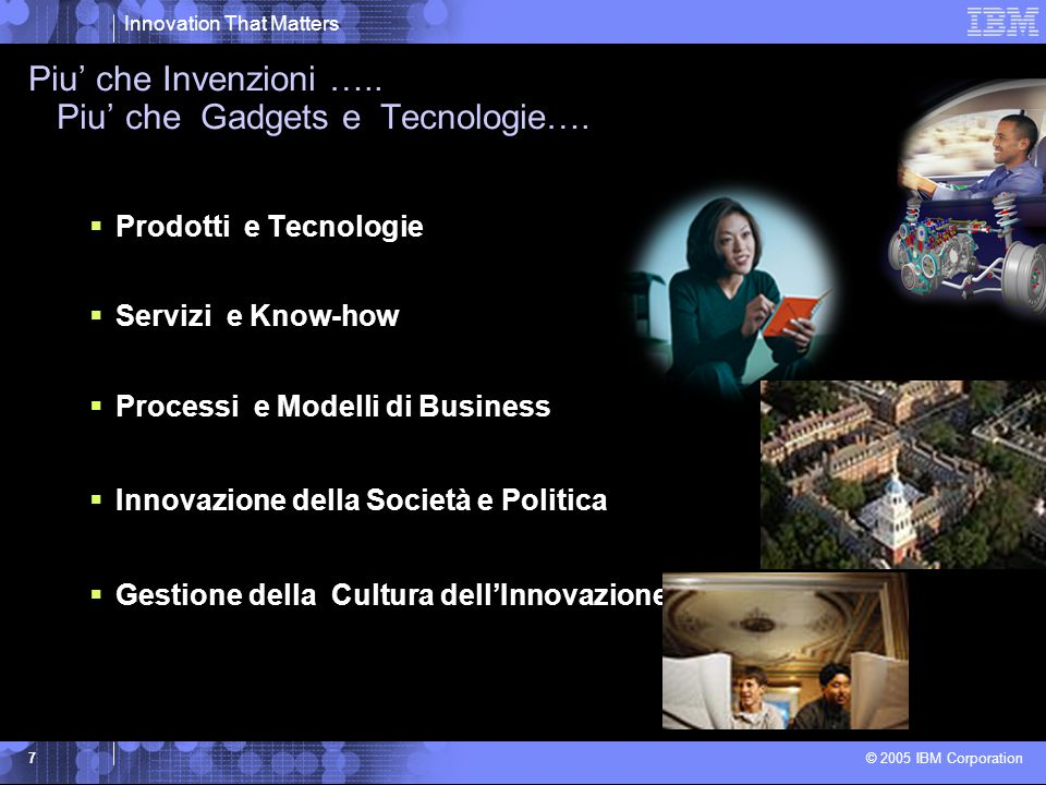 Innovation That Matters © 2005 IBM Corporation 7 Piu che Invenzioni …..