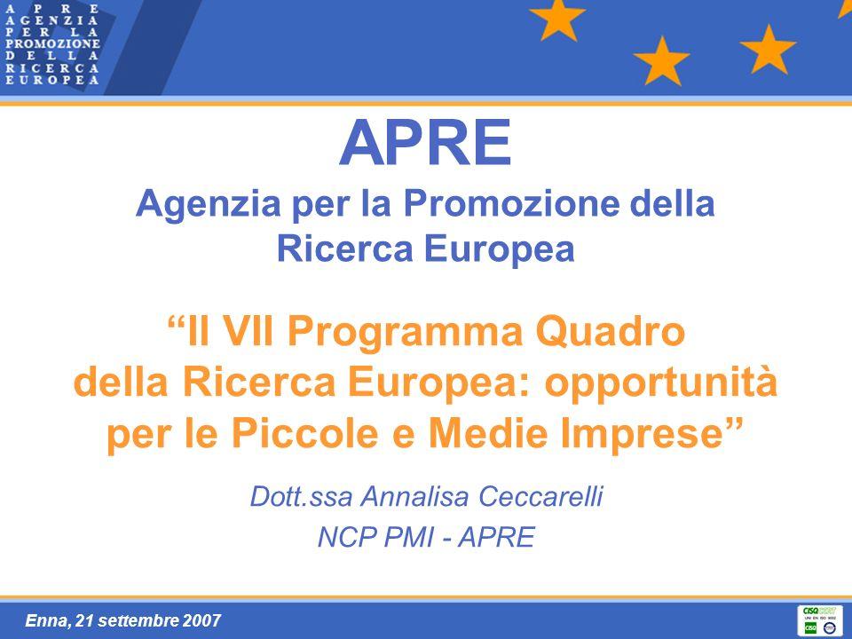 Enna, 21 settembre 2007 APRE Agenzia per la Promozione della Ricerca Europea Il VII Programma Quadro della Ricerca Europea: opportunità per le Piccole e Medie Imprese Dott.ssa Annalisa Ceccarelli NCP PMI - APRE