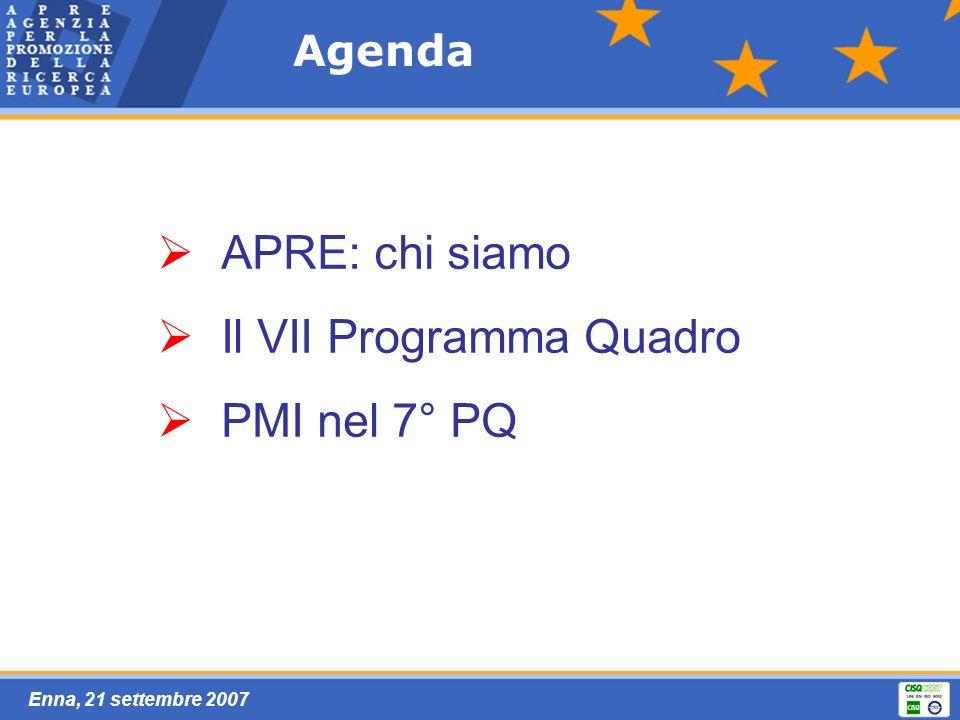 Enna, 21 settembre 2007 Agenda APRE: chi siamo Il VII Programma Quadro PMI nel 7° PQ