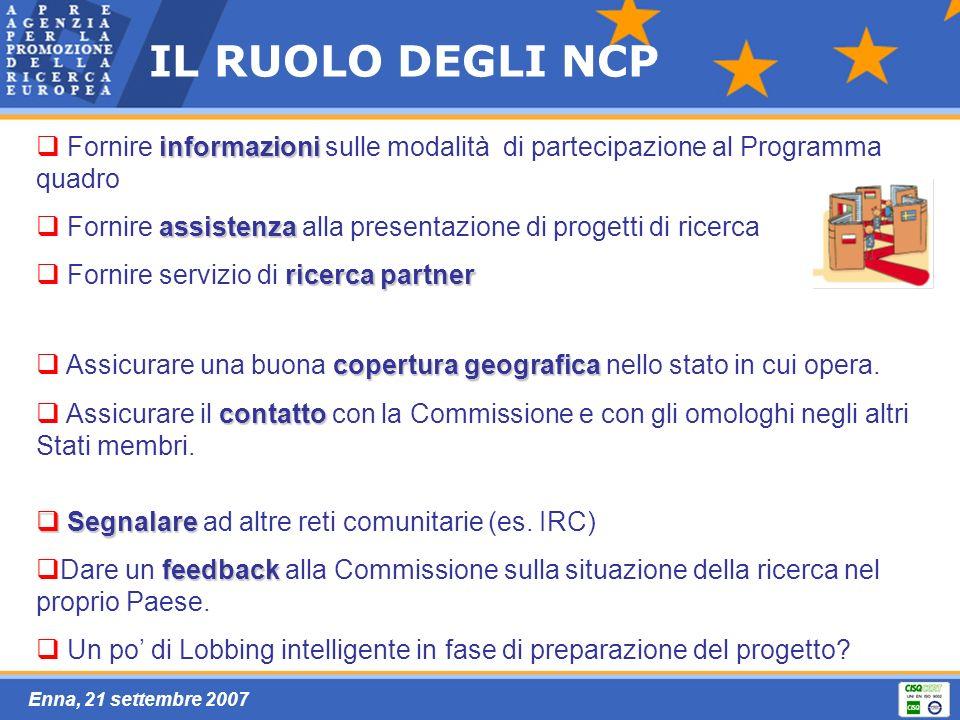 Enna, 21 settembre 2007 IL RUOLO DEGLI NCP copertura geografica Assicurare una buona copertura geografica nello stato in cui opera.